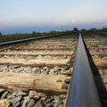 Low angle of railroad tracks. Royalty Free Stock Image