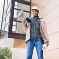 Low angle view of African construction worker Royalty Free Stock Image