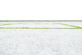 Low angle view of concrete floor with green grass isolated on wh Royalty Free Stock Photo