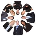 Low angle view of diverse group of business people isolated on white Stock Photos