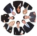 Low angle view of diverse group of business people isolated on white Royalty Free Stock Photography