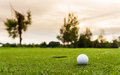 Low angle view of golf ball on green Royalty Free Stock Photos