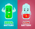Low battery and full power battery vector flat cartoon character illustration. Energy charge