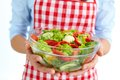 Low calorie food close up of fresh vegetable salad in bowl held by female Royalty Free Stock Image