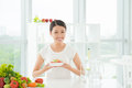 Low calorie lunch portrait of a slender woman with a happy smile having a healthy vegetarian Royalty Free Stock Photos