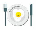 Low carb diet pattern with smiling fried egg Stock Images