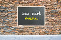 Low carb menu on blackboard Royalty Free Stock Photos