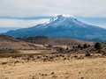 Low clouds at peak of mt shasta cover the located in the high desert northern california Stock Photos