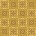 Low contrasting vintage ornament, light yellow drawing on golden background. Repeating filigree geometric patterns in victorian st Royalty Free Stock Photo