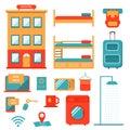 Low cost hostel travel design elements set.