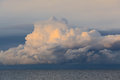 Low dramatic storm clouds over sea water Royalty Free Stock Photo