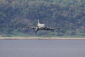 Low flying douglas c dakota fort george scotland august on august over fort george scotland over s were built and were used Royalty Free Stock Image