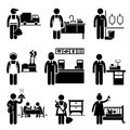 Low income jobs occupations careers a set of pictograms showing the professions of people in the industry Royalty Free Stock Photos