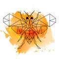 Low poly bee on orange watercolor Royalty Free Stock Photo