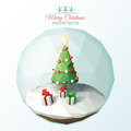 Low poly christmas scene inside a glass ornament Royalty Free Stock Photography