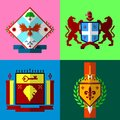 stock image of  Low poly coat of arms set