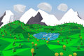 Low poly landscape with mountains, lake, trees and swans. 3D illustration