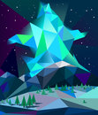 Low poly northern lights over mountains in winter night vector Royalty Free Stock Photo