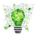 Low Poly Style Light green bulb. Vector abstract Illustration on isolated background. Idea concept. T-shirt design