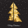Low poly triangle golden Christmas tree on black background.