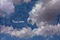 Low poly vector illustration of dramatic sky, clouds and a plane Royalty Free Stock Photo