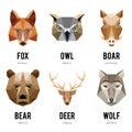 Low polygon animal logos. Triangular geometric animals logo set Royalty Free Stock Photo