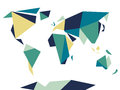 Low polygonal origami style world map. Abstract vector template.