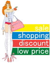 Low prices purchase sale discounts girl with bag and apple invites shopping Stock Photos