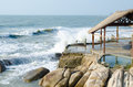 Low season in vietnam stormy sea abandoned resort zone spring Stock Images