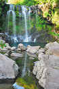 Low shot of majestic waterfall Royalty Free Stock Photo