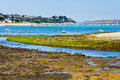 Low tide coastline perros guirec during brittany france Stock Images
