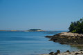 Low tide on the maine coast a beautiful rocky coastal beach a gorgeous day Stock Image