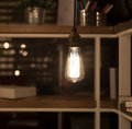 Low watt tungsten bulbs hanging from cord Stock Photography