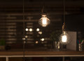 Low watt tungsten bulbs hanging from cord Royalty Free Stock Photos