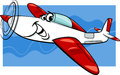 Low wing air plane cartoon illustration of funny comic mascot character Royalty Free Stock Images
