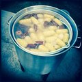 Lowcountry boil cooking in pot
