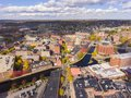 Lowell downtown aerial view, Massachusetts, USA Royalty Free Stock Photo