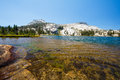 Lower cathedral lake in yosemite national park Stock Photo