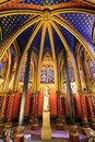 Lower chapel statue beautiful interior of the sainte chapelle holy a royal medieval gothic in paris france on april Stock Photos