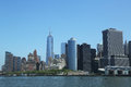 Lower manhattan et panorama financier d horizon de secteur Images libres de droits