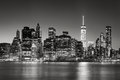 Lower Manhattan Financial District skyline at dusk, New York City Royalty Free Stock Photo
