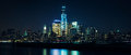 Lower Manhattan from Hudson river at night Royalty Free Stock Photo