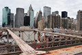 Lower manhattan new york oct skyline from brooklyn bridge on oct after terror attacks lost much of its economy and Royalty Free Stock Photography