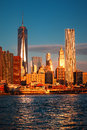 Lower Manhattan skyline along the East River Royalty Free Stock Photo