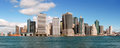 Lower manhattan skyline new york city panoramic view of Stock Photography