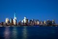 Lower manhattan skyline at night the new freedom tower and Stock Image