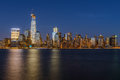 Lower manhattan skyline at night new york city Stock Image