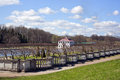Lower park at peterhof view from the shaft to the house on the lake in of Royalty Free Stock Photography