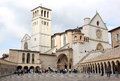Lower plaza of st francis in assissi italy the and upper basilicas di san francesco and the portico as seen from the the papal Royalty Free Stock Photo
