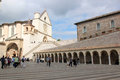 Lower plaza of st francis assissi italy the and upper basilicas di san francesco and the portico as seen from the the papal Stock Photo